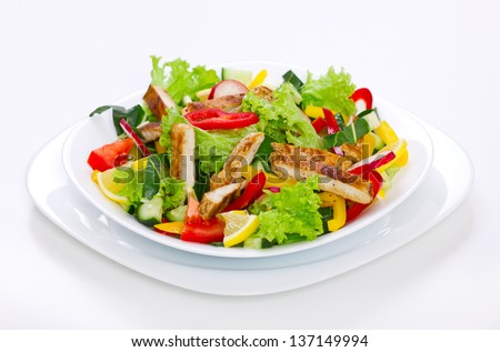 Chicken salad in the plate - stock photo