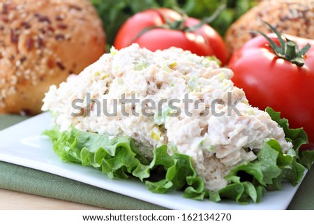 Chicken salad ready for sandwich. - stock photo