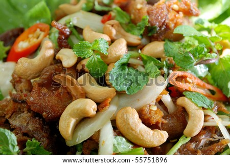 Chicken salad with cashew nut Thai Style.
