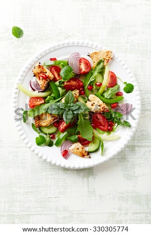 Chicken salad with cherry tomatoes and pomegranate seeds - stock photo