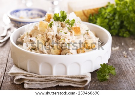 Chicken salad with croutons - stock photo