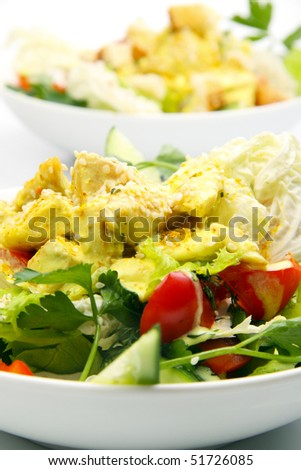 Chicken salad with curry - stock photo