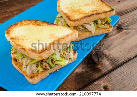 Chicken sandwich with celery, mustard, grilled chicken and salad - stock photo