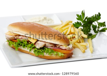 Chicken sandwich with fried potatoes and tomato sauce - stock photo