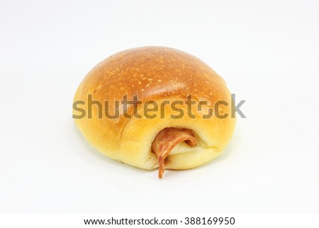 Chicken sausage salami roll on white background