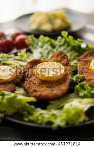 Chicken Schnitzel with potato salad, greens and lemon  - stock photo