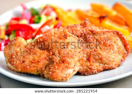 Chicken schnitzels on a plate served with potato chips and green salad. Food background and texture - stock photo