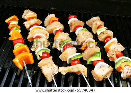 Chicken Shish Kabob on the grill