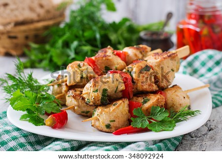 Chicken shish kebab with paprika. - stock photo