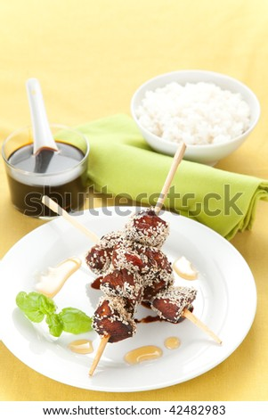 chicken skewer with sesame and soy sauce - stock photo