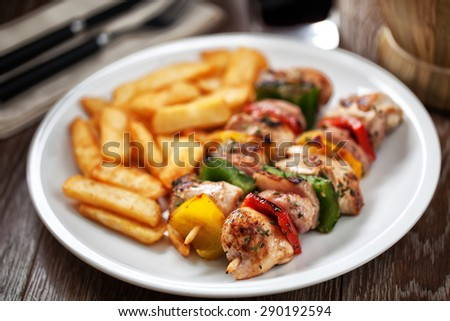 Chicken Skewered with Potatoes - stock photo