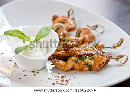 chicken skewers finger food - stock photo