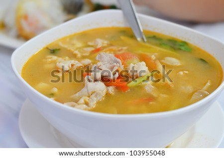 chicken  soup , hot and spicy , favorite thai food - stock photo