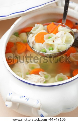 Chicken soup in a tureen
