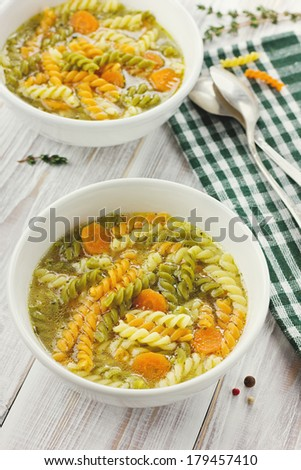 Chicken soup in a white bowl with spoon  - stock photo