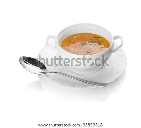 Chicken soup in bowl isolated on white background. - stock photo