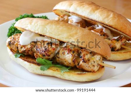 chicken spiedie, submarine roll sandwich - stock photo