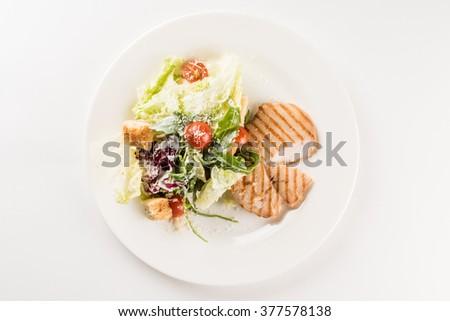 chicken steak with salad - stock photo