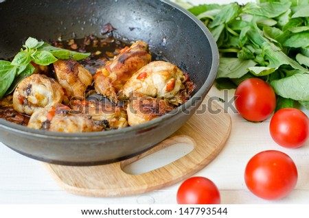 chicken stew with tomatoes - stock photo