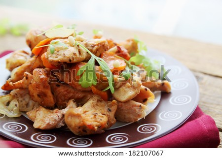 chicken stew with vegetables and pine nuts