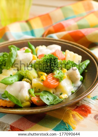 Chicken stew with vegetables, selective focus - stock photo