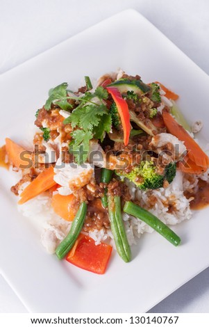 chicken stir-fry with vegetable and rice asia food