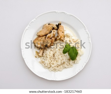 chicken strips and rice - stock photo