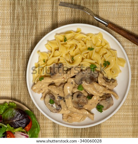 Chicken Stroganoff a variation on Beef Stroganoff. Selective focus. - stock photo