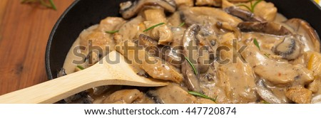 Chicken Stroganoff. Panoramic image. Selective focus. - stock photo