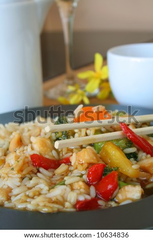 Chicken Teriyaki with white rice and vegetables and chop sticks. - stock photo