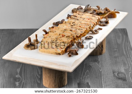 chicken terrine with shrimp and mushrooms