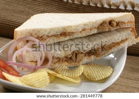Chicken tex mex sandwich - stock photo