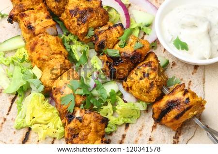 Chicken tikka chapatti wrap - stock photo