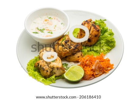 Chicken Tikka - traditional indian food - stock photo