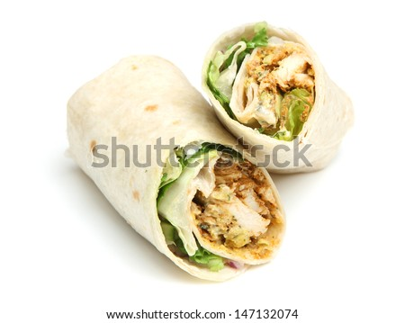 Chicken tikka wrap sandwich - stock photo