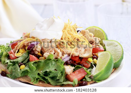 Chicken Tostadas with black bean and corn salsa. Shallow depth of field with selective focus on salad. - stock photo