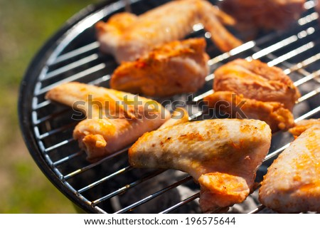 chicken wings grilling at weekend in the summer - stock photo