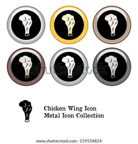 Chicken Wings Icon Metal Icon Set.  Raster version. - stock photo