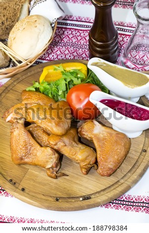 chicken wings on the table in a restaurant - stock photo