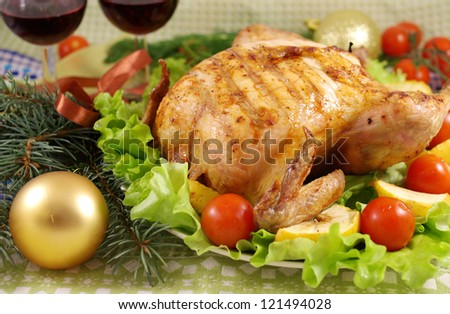 Chicken with apples on the New Year's table