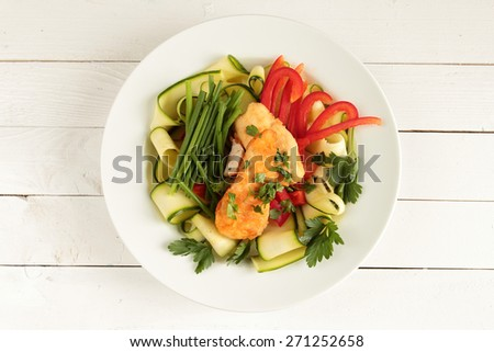 Chicken with fresh zucchini, red paprika and chive - stock photo
