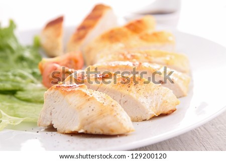 chicken with sauce - stock photo