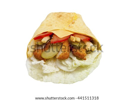 chicken with vegetables in a tortilla on a white background