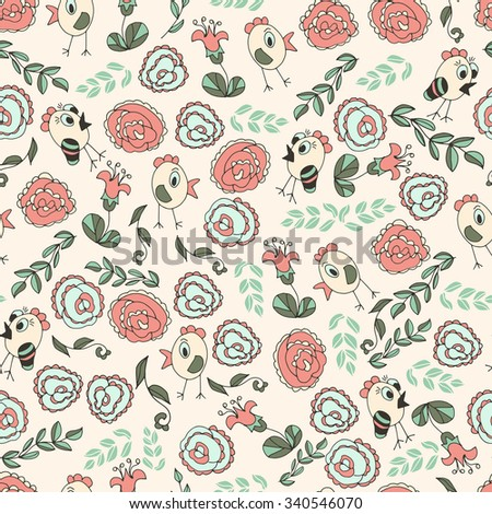 Chickens, rose. Children's background, texture. Funny, funny. Seamless. Sketch doodle. - stock photo