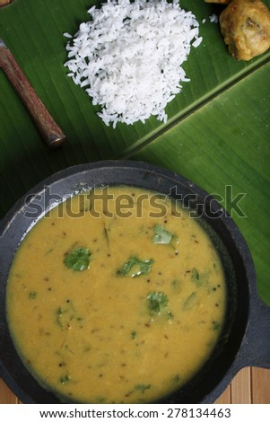 Chickpea flour (besan) based curry from Maharashtra, India and this can be eaten with rice or roti