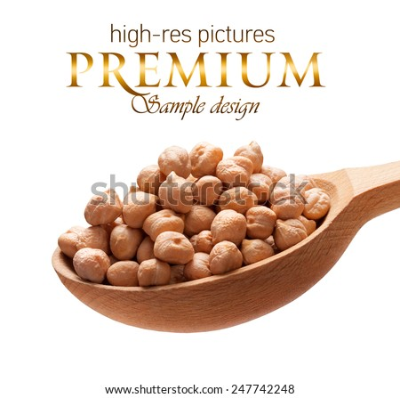 Chickpea in a wooden spoon / beans on wooden spoon isolated on white background with place for your text  - stock photo
