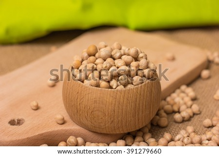 Chickpea isolated on a burlap sack - stock photo