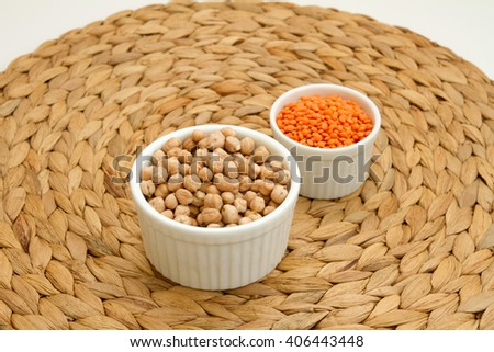 Chickpeas and red lentils - stock photo