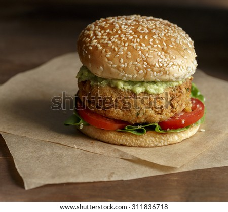 Chickpeas Burger with Avocado Dip,Vegan - stock photo