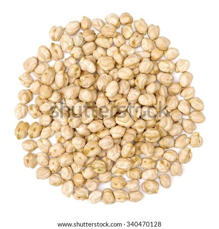 Chickpeas in a pile isolated on a white background - stock photo